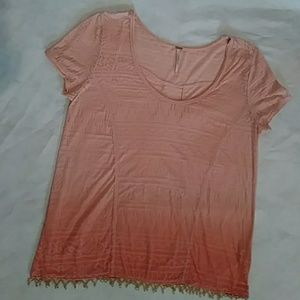 Free People Semi Fitted Burn out Tee. Coral Ombre.